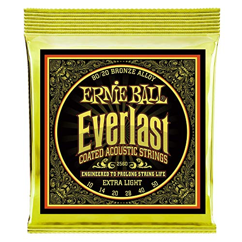 Ernie Ball Everlast Extra Light Coated 80/20 Bronze Acoustic Set, .010 - .050 from Ernie Ball