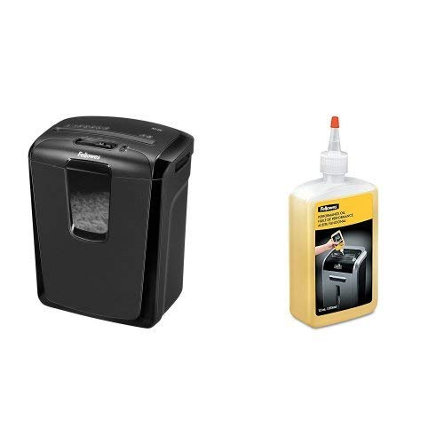 Fellowes M-8C Cross Cut 8 Sheet Personal Shredder and Oil Bundle