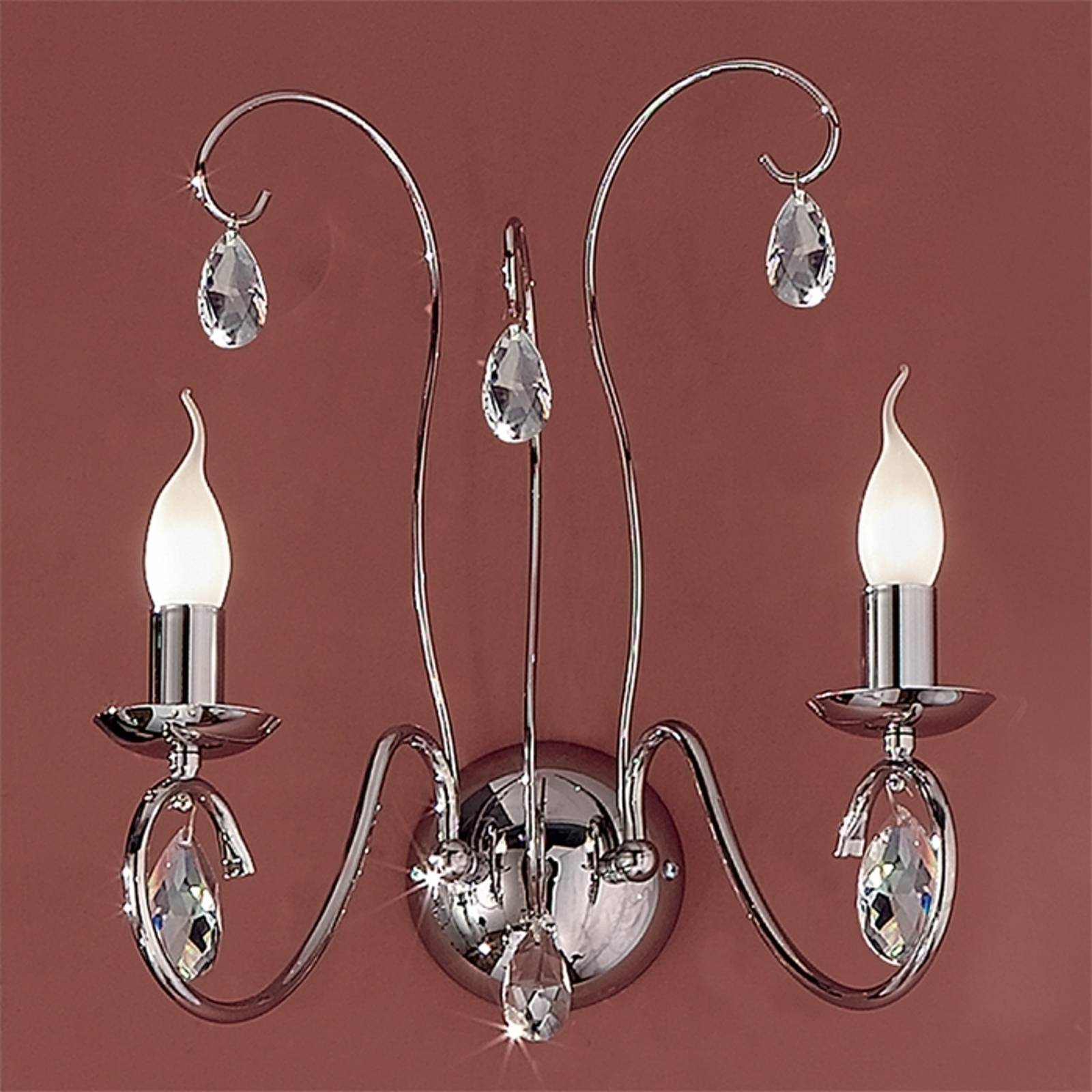 Fioretto Wall Light Graceful Two Bulbs Chrome from Orion