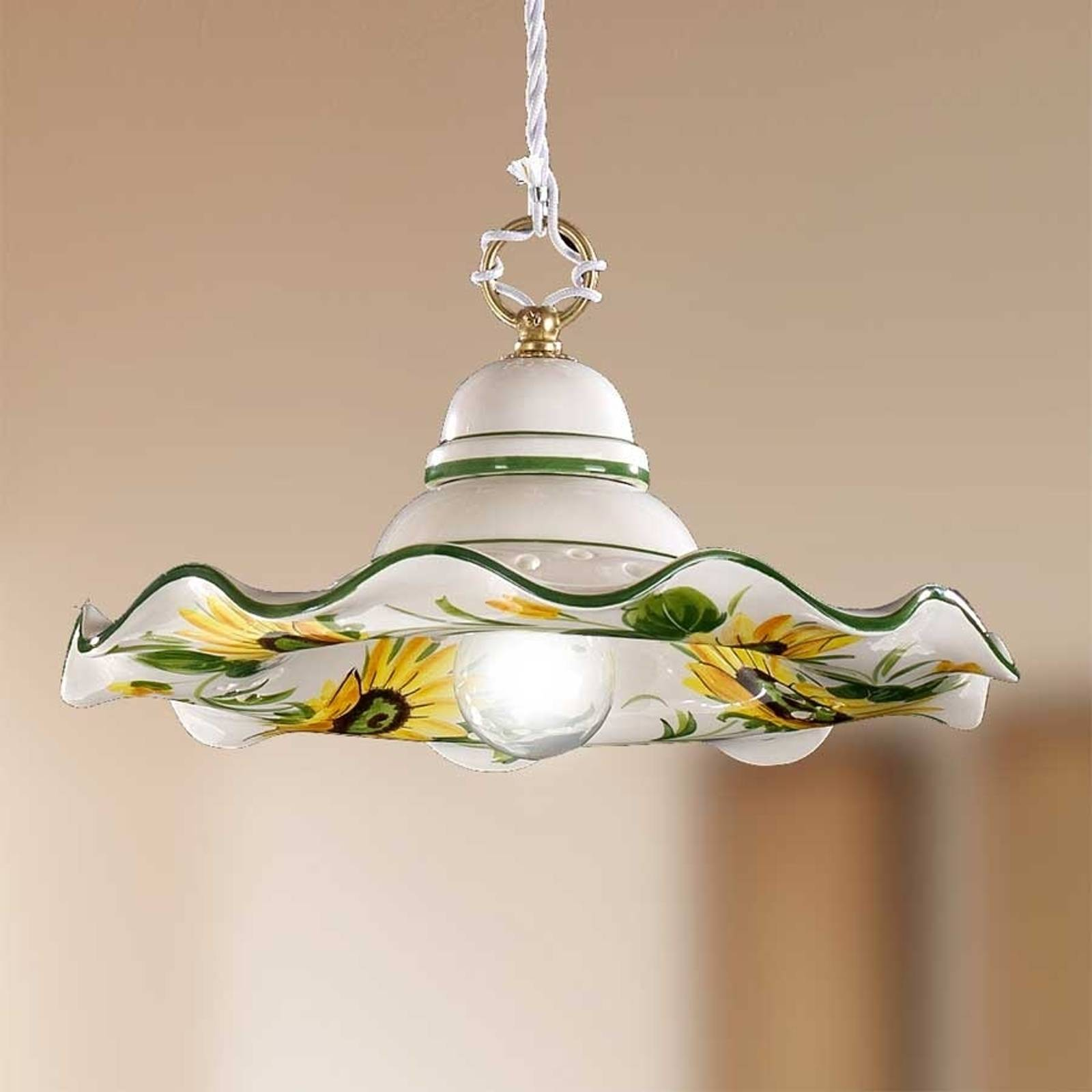 GIRASOLA hanging light, country house charm, 32 cm from Ceramiche