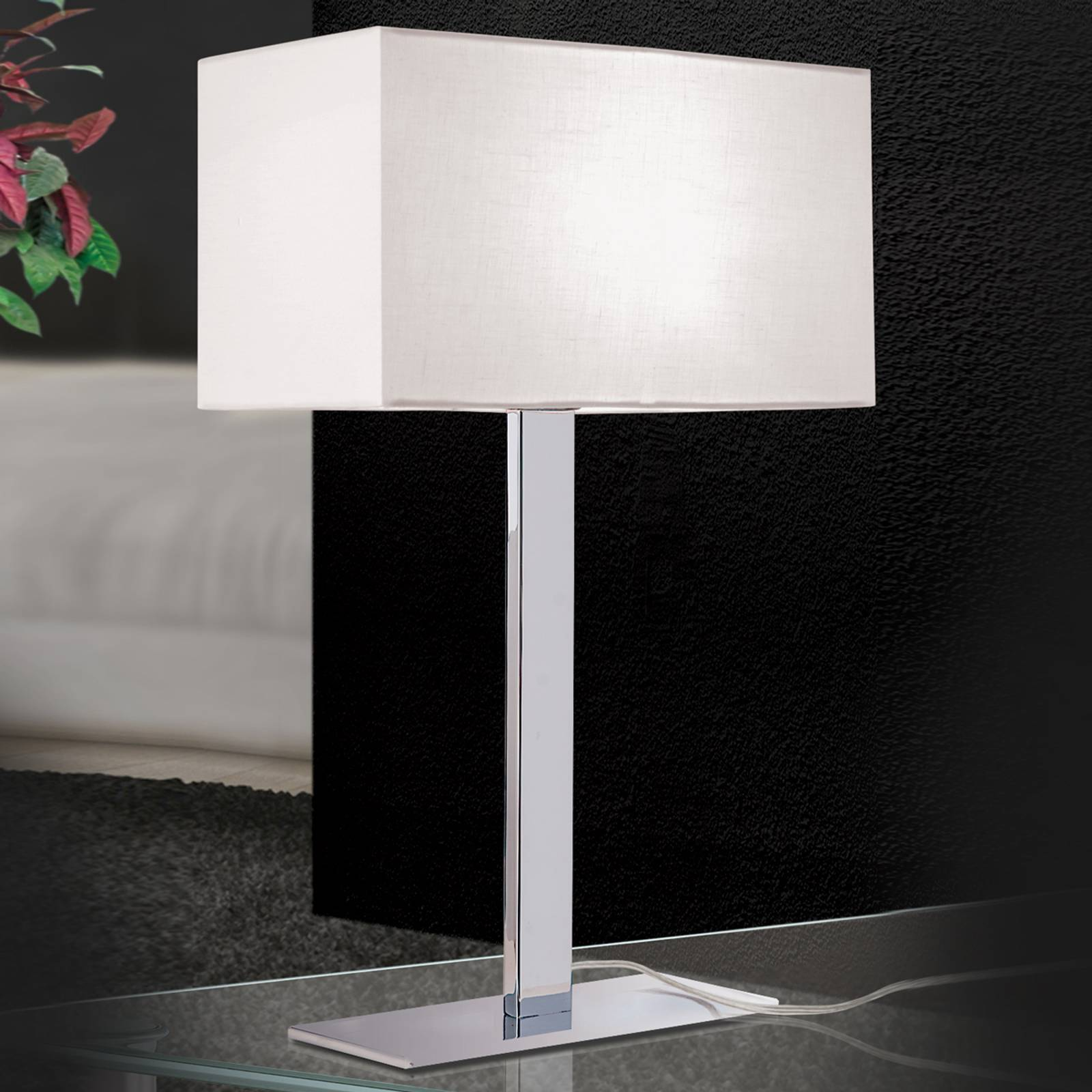 Grigor table lamp with a white linen lampshade from Orion