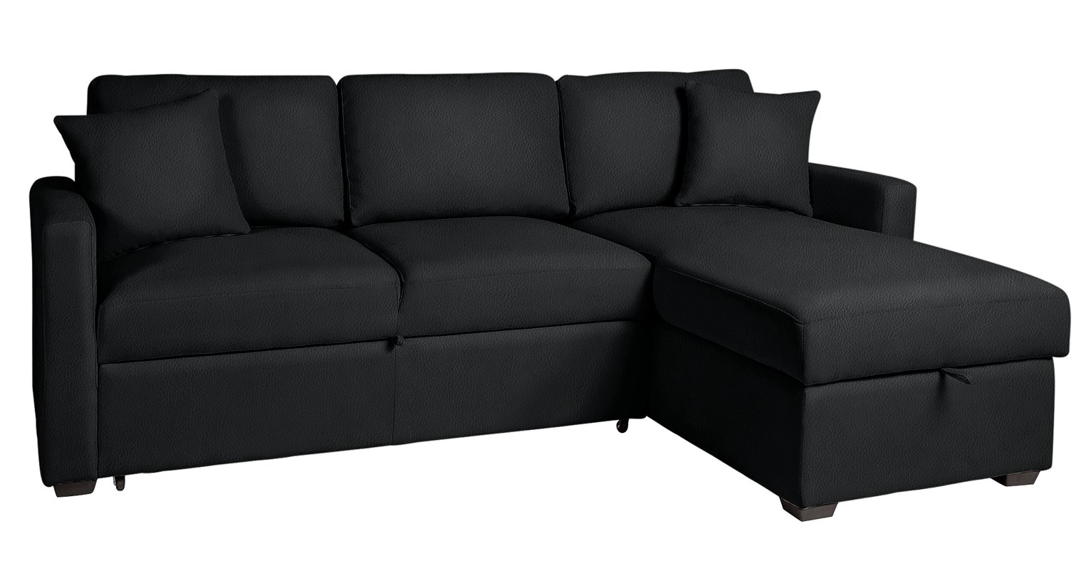Argos Home - Reagan - Leather Eff Right Corner Chaise Sofa Bed - Blk from Argos Home
