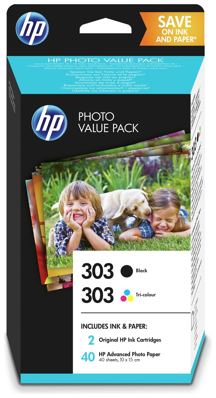 HP 303 B/C/M/Y Ink Cartridge with Photo Paper Pack from HP