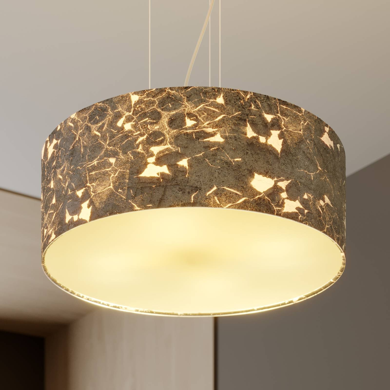 Hanging lamp Aura, silver-coloured lampshade from Lucande