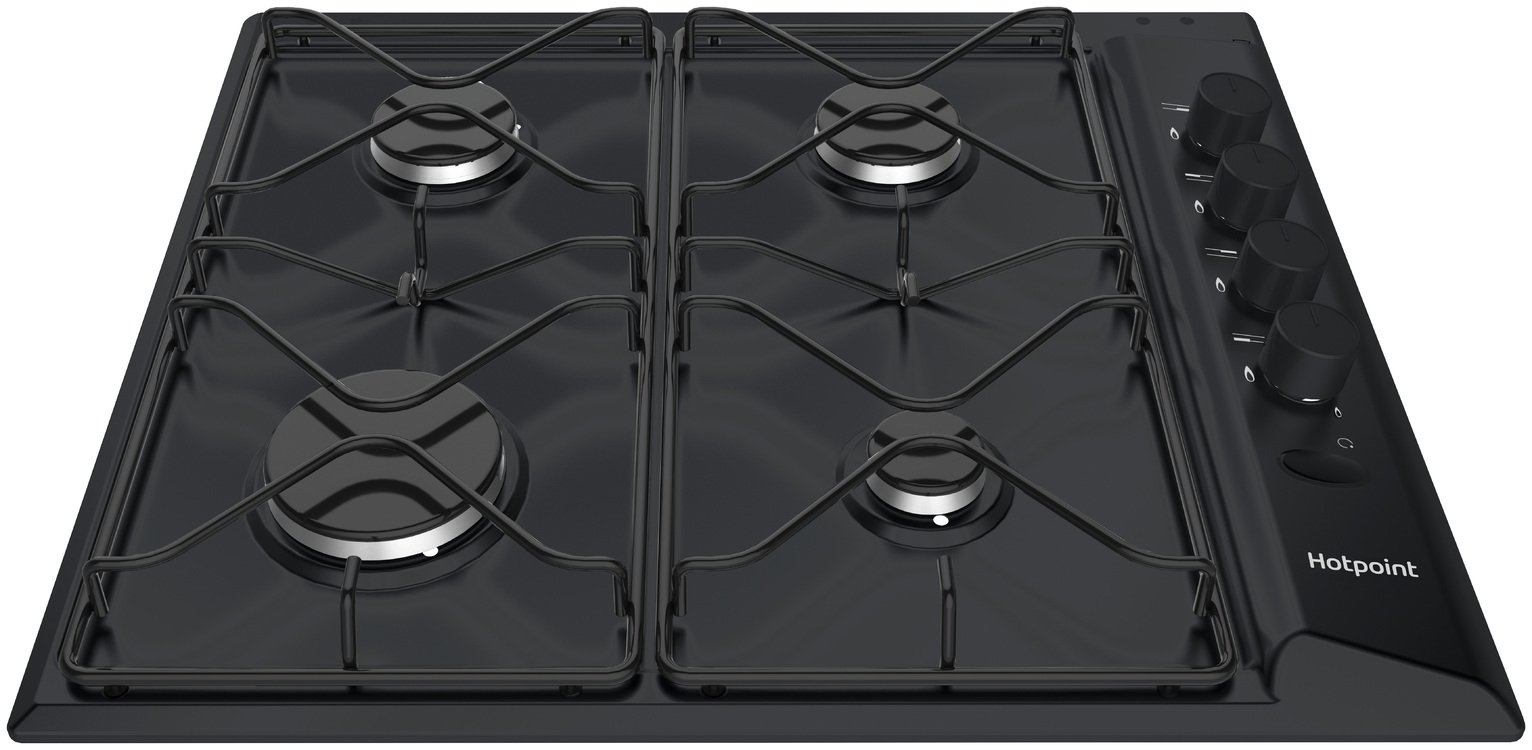 Hotpoint PAS642HBK Gas Hob - Black - Del/Ins/Rec from hotpoint