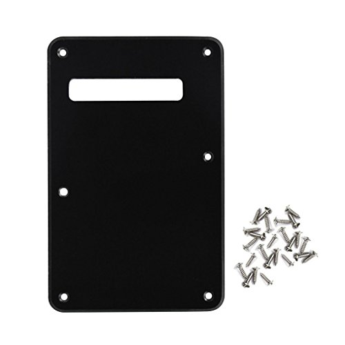 IKN Electric Guitar Tremolo Cavity Cover Back Plate with Mounting Screws for Fender Strat Style Guitar Replacement,1Ply Matt Black from IKN