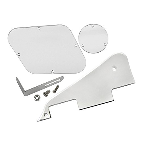 IKN Silver Mirror LP Pickguard & Rear Plate Switch Plate Cavity Covers With Chrome Bracket for Epiphone Les Paul from IKN