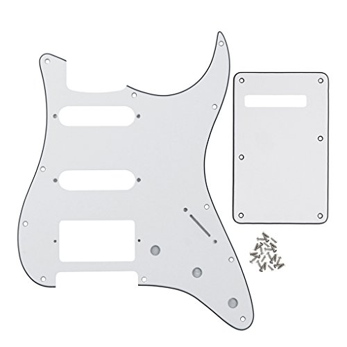 IKN Strat SSH Guitar Pickguard 11 Holes Scratchplate and ST Back Plate Tremolo Cover with Mounting Screws,3-Ply White/Black/White from IKN