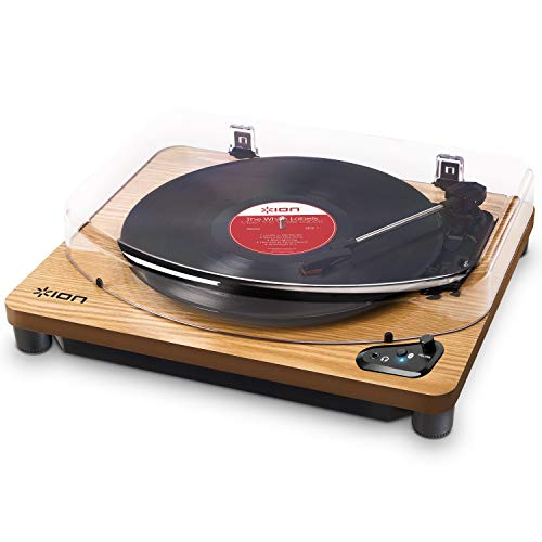 ION Audio Air LP - Wireless Bluetooth Turntable / Vinyl Record Player with Three Playback Speeds, Aux Input and USB Conversion - Vintage Wood Finish from ION Audio