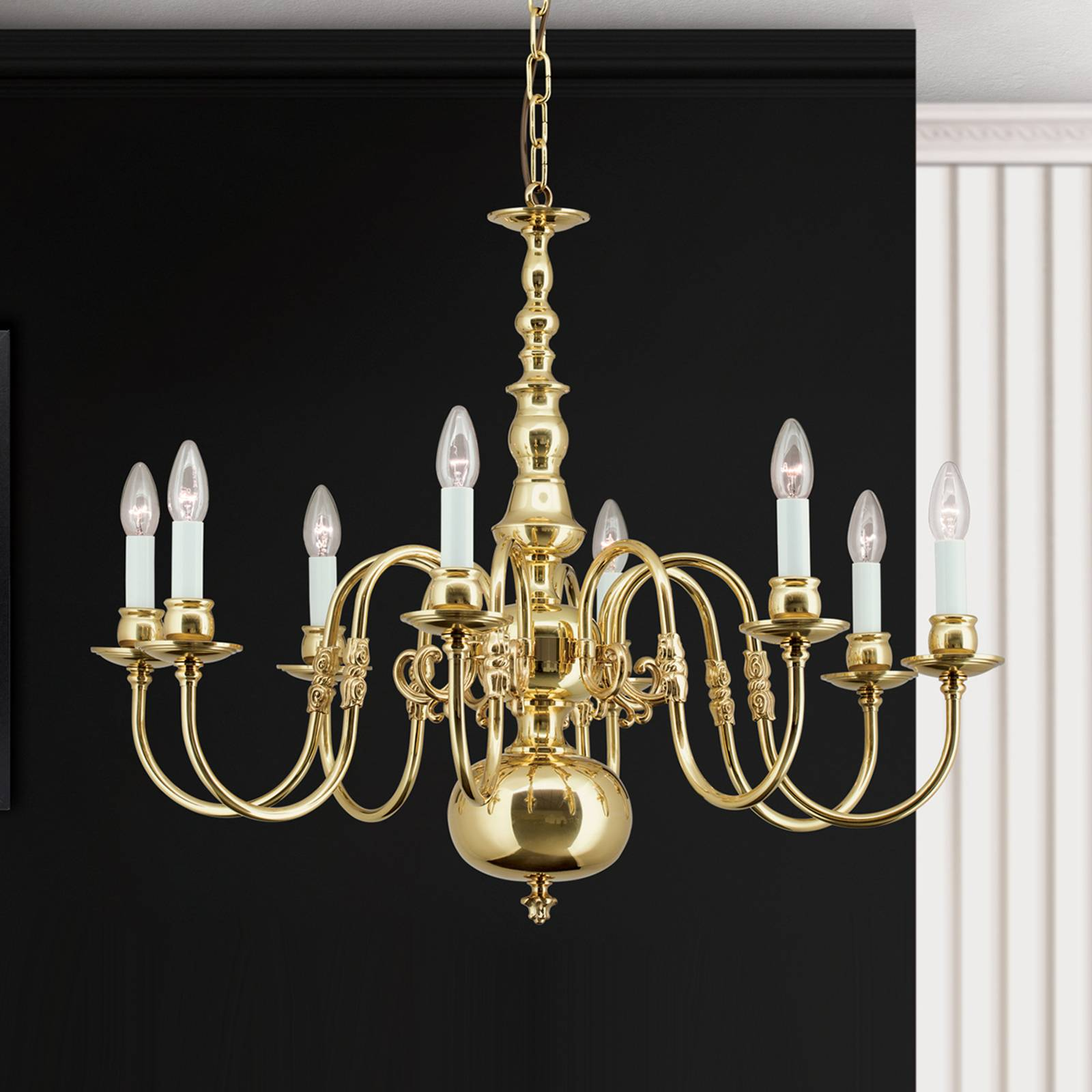 Imke Chandelier 8 Bulbs Polished Brass from Orion
