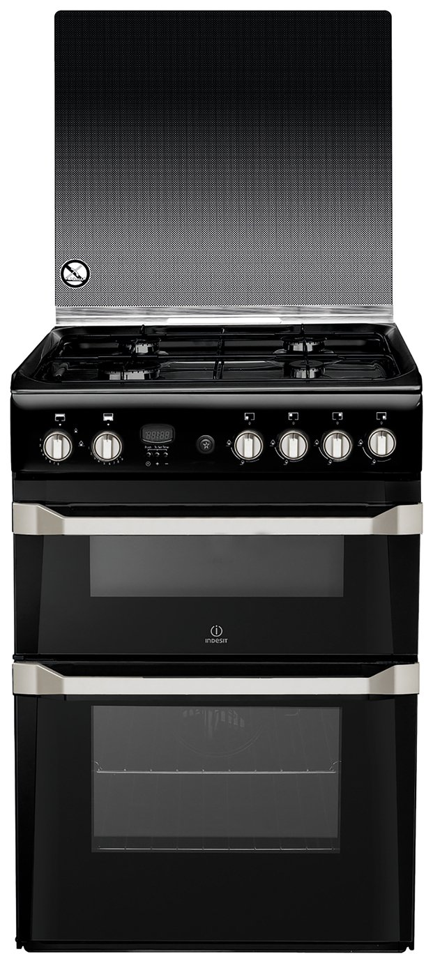 Indesit ID60G2K 60cm Double Oven Gas Cooker - Black from Indesit