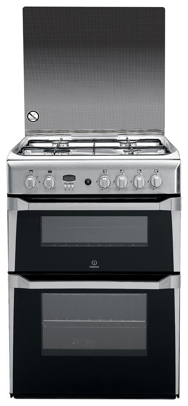 Indesit ID60G2X 60cm Double Oven Gas Cooker - Silver from Indesit