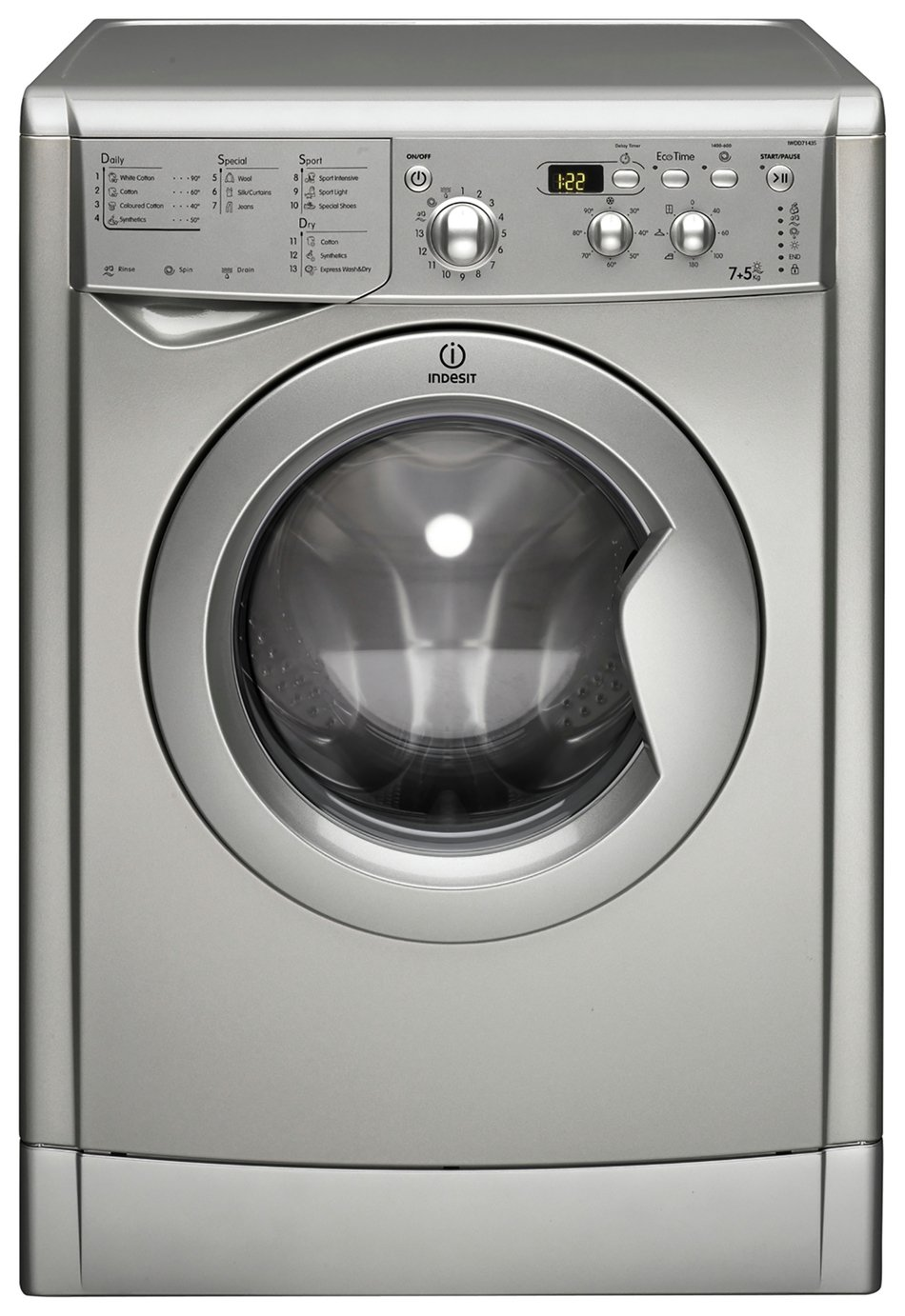 Indesit IWDD7143 S 7KG / 5KG 1400 Spin Washer Dryer - Silver from Indesit