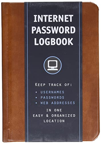 Internet Password Logbook (Cognac Leatherette): Keep track of: usernames, passwords, web addresses in one easy & organized location from Rock Point