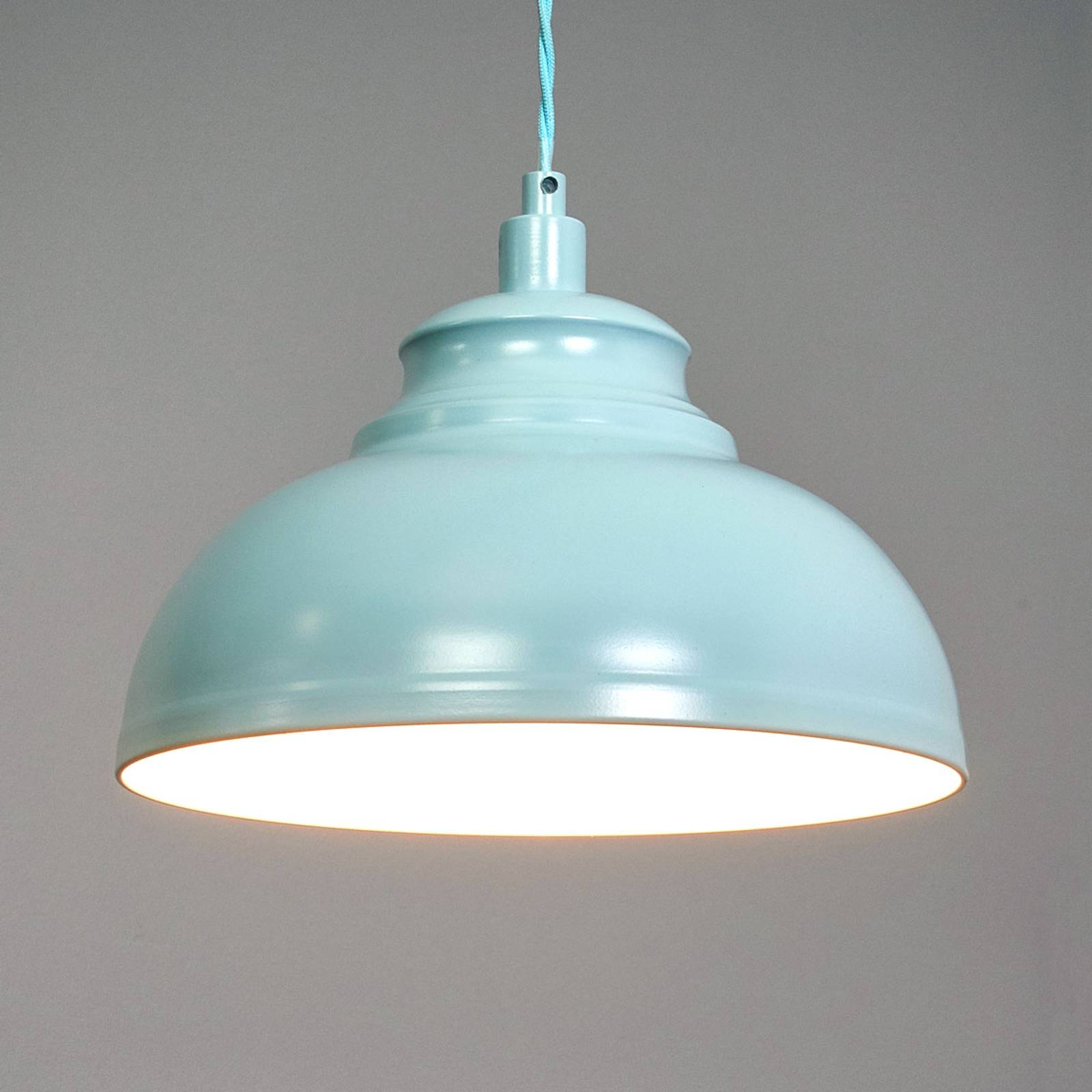 Isla - a hanging light in a soft blue colour from Lucide