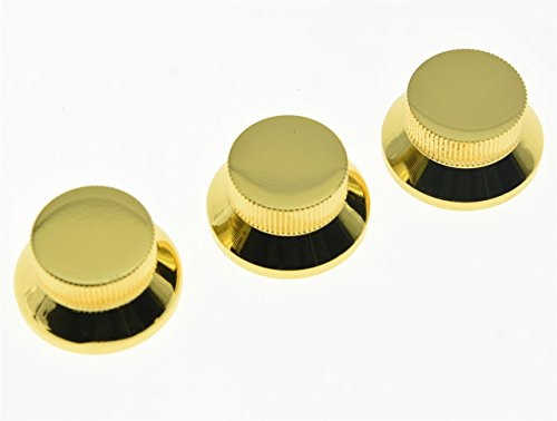 KAISH 3pcs Gold Metal Bell Knobs Push On ST Strat Guitar Top Hat Knob for 5.8mm Split Shafts from KAISH