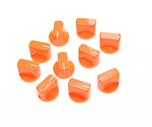 KAISH Pack of 10 Guitar AMP Effect Pedal Knobs Pointer Knob with Set Screw Orange from KAISH