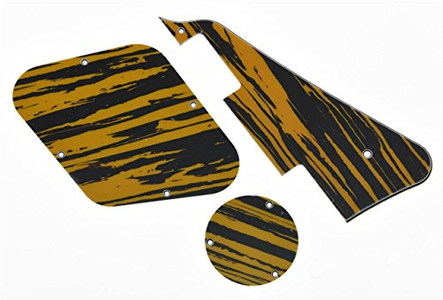 KAISH Tawny Stripe LP Pickguard & Rear Plate Switch Plate Cavity Covers for Epiphone Les Paul from KAISH