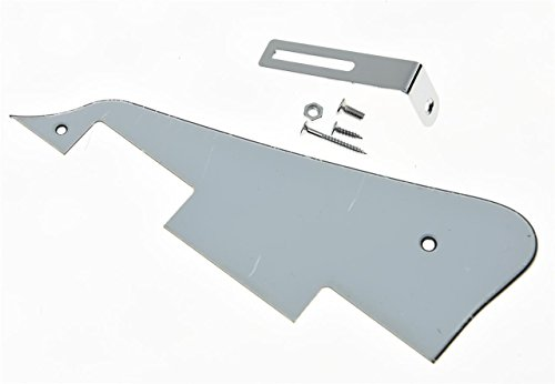 KAISH White 3 Ply LP Guitar Pickguard with Chrome Bracket for Epiphone Les Paul from KAISH