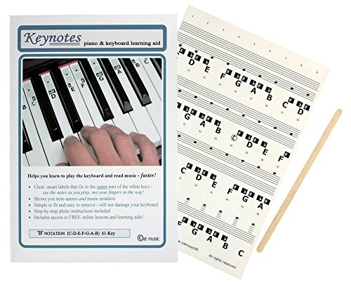 KEYNOTES Piano Stickers for 49, 54, or 61-KEY Music Keyboard + Online Lessons from Keynotes