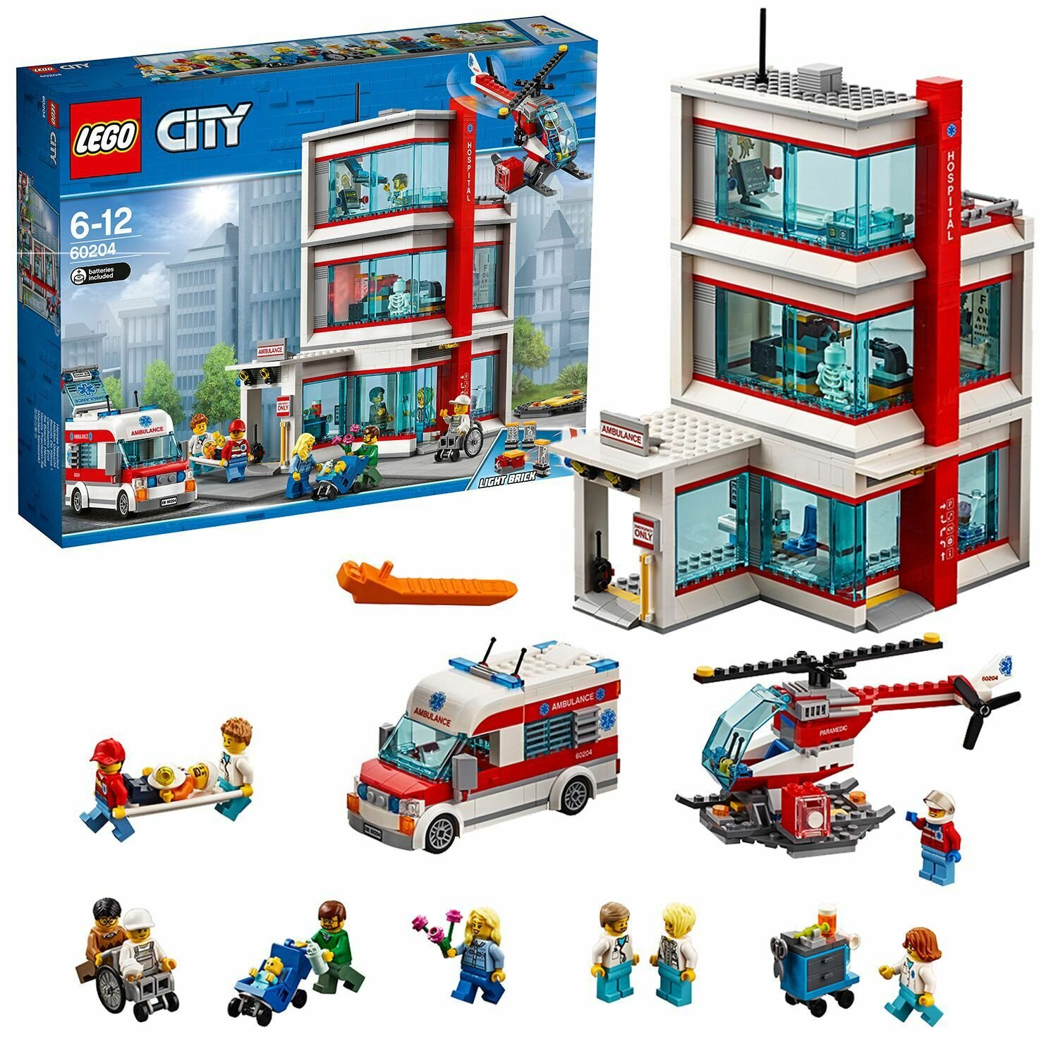 LEGO City Town Hospital Building Set with Light Bricks-60204 from LEGO