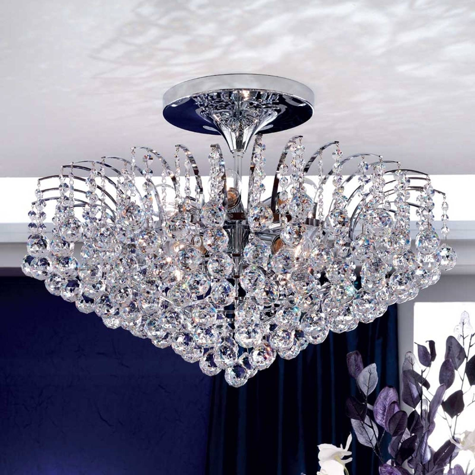 Glittery ceiling light Lennarda, chrome-plated from Orion
