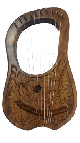 Lyre Harp 10 Metal Strings Rosewood Flowers Design Natural FinishHand Engraved/Lyra Hrp Shesham Wood from TC