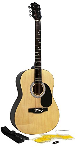 Martin Smith W-100 Acoustic Guitar Package with Strings, Plecs, Strap - Natural from Martin Smith