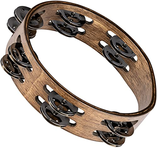 Meinl Percussion CTA2WB Wooden Tambourine with Stainless Steel Bells / 2–Row 20.3 CM (8 Inch) Diameter walnut Brown from Meinl Percussion