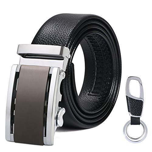 flintronic Men's Leather Belt, Automatic Buckle High Quality Leather Ratchet Belt 3.5cm * 130cm (Keychain & Gift Box Include) from flintronic