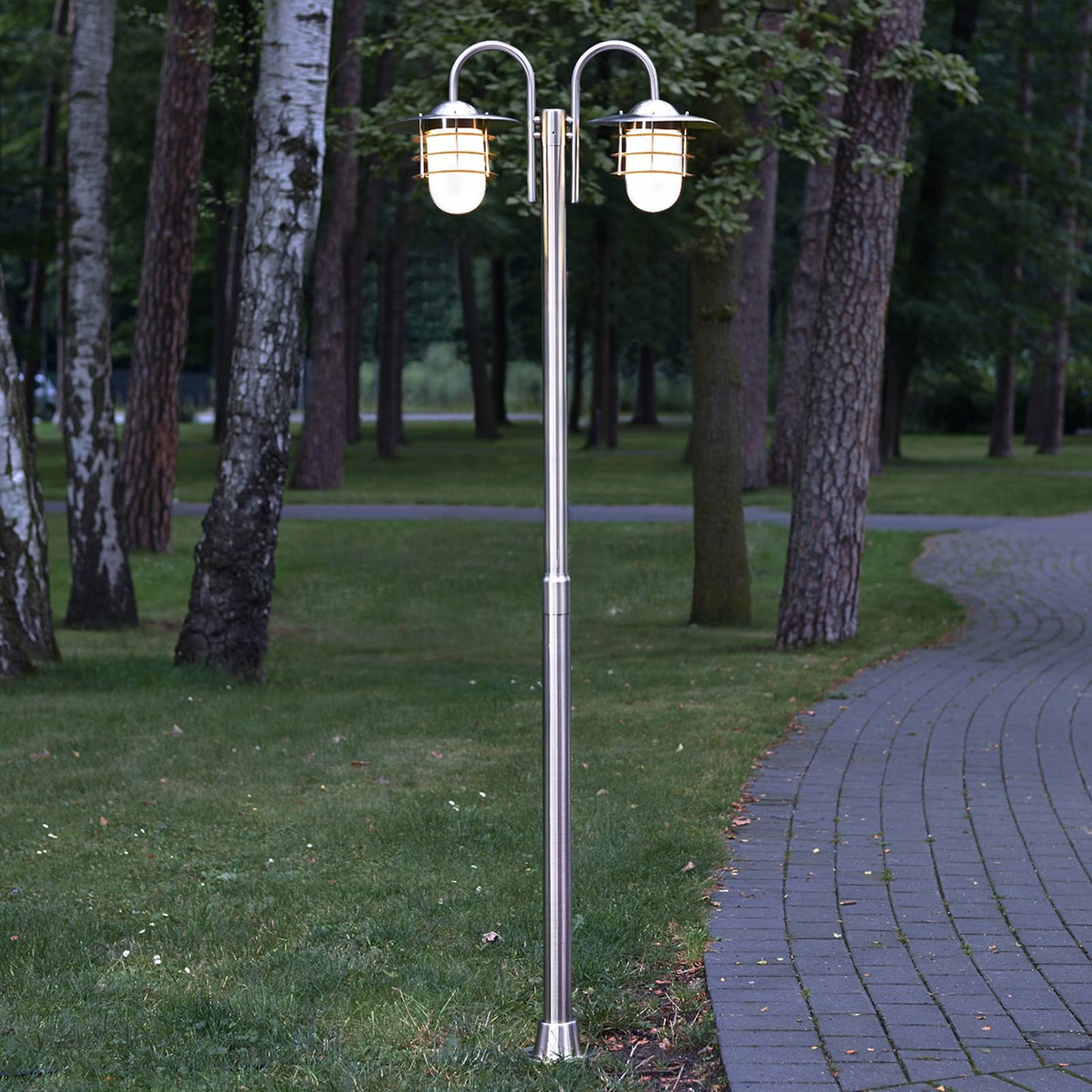 Mian two-bulb post light made of stainless steel from Lindby