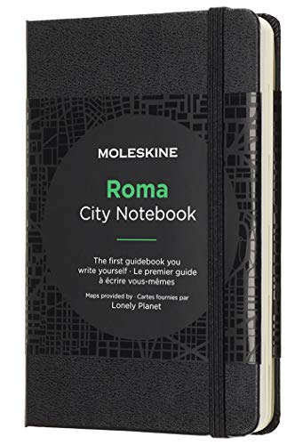 Moleskine City Notebooks Rome with Plain and Ruled Page, Notebook with Hard Cover, Elastic Closure and City Maps, Black Colour, Size 9 x 14 cm, 220 Pages from Moleskine