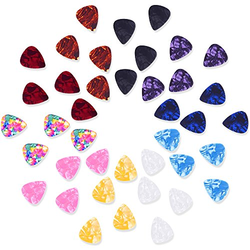 Mudder Mixed Color 0.46mm Celluloid Guitar Picks Plectrums with Metal Pocket Box, 40 Pack from Mudder