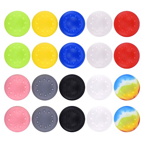 Mudder 20 Pieces Silicone Thumb Grips Caps Thumb Stick Protect Cover Replacement Parts Compatible with Xbox One, Xbox 360, PS4 Controllers, Multi-color from Mudder