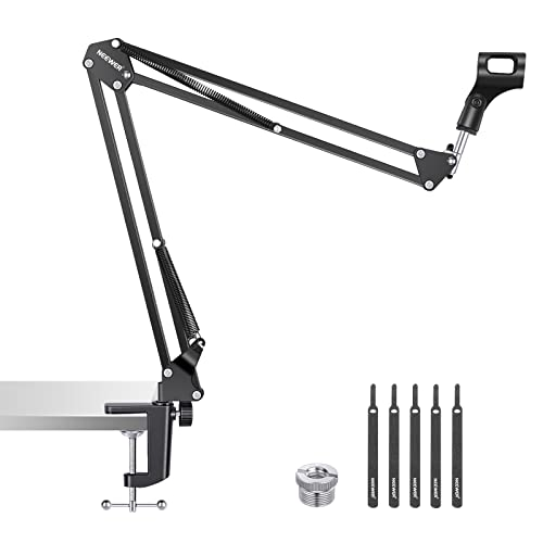 Neewer Adjustable Microphone Suspension Boom Scissor Arm Stand, Compact Mic Stand Made of Durable Steel for Radio Broadcasting Studio, Voice-Over Sound Studio, Stages, and TV Stations from Neewer