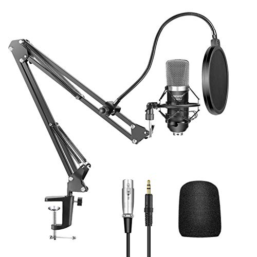 Neewer® NW-700 Professional Studio Broadcasting Recording Condenser Microphone & NW-35 Adjustable Recording Microphone Suspension Scissor Arm Stand with Shock Mount and Mounting Clamp Kit from Neewer