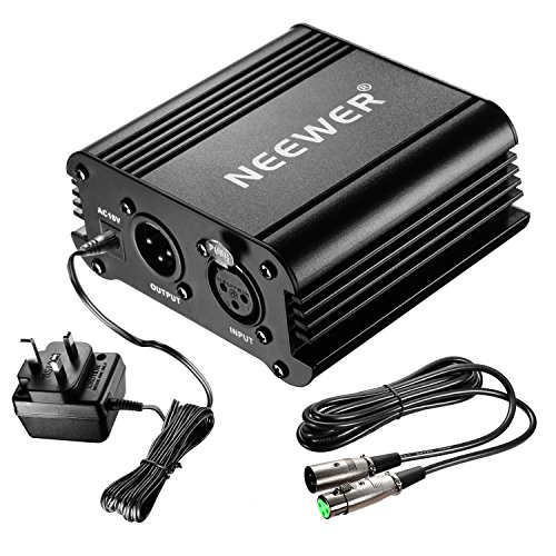 Neewer 1-Channel 48V Phantom Power Supply Black with Adapter and One XLR Audio Cable for Any Condenser Microphone Music Recording Equipment from Neewer