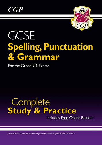 Spelling, Punctuation and Grammar for Grade 9-1 GCSE Complete Study & Practice (with Online Edition) (CGP GCSE English 9-1 Revision) from Coordination Group Publications Ltd (CGP)