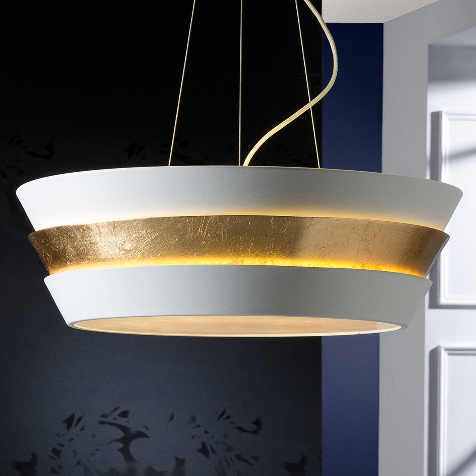 Noble hanging light Isis with gold-white lampshade from Schuller
