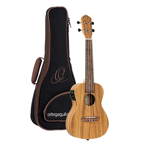Ortega Guitars RFU11ZE Friends Series Concert Ukulele with Zebrawood Top/Body and Pickup from Ortega