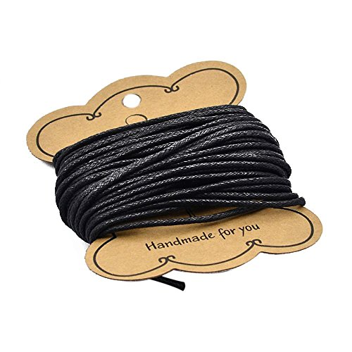 PandaHall 1 Roll about 10m 2mm Black Waxed Cotton Cord for Jewellery Making from PandaHall