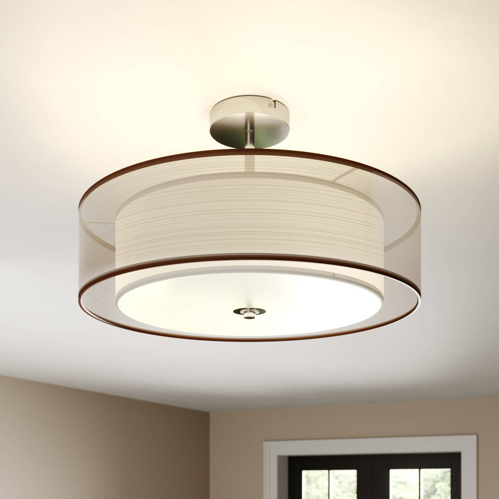 Pikka LED ceiling light with a brown lampshade from Lindby