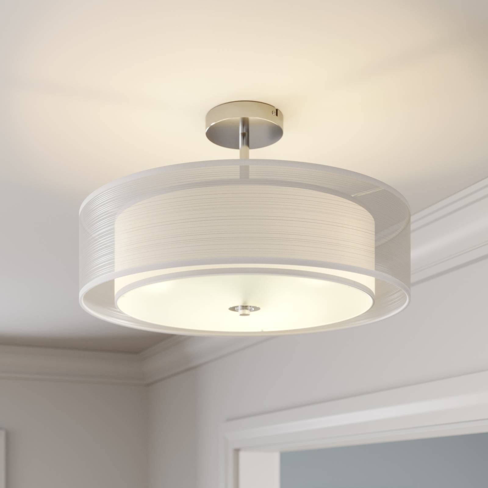 Pikka LED ceiling light with a white lampshade from Lindby