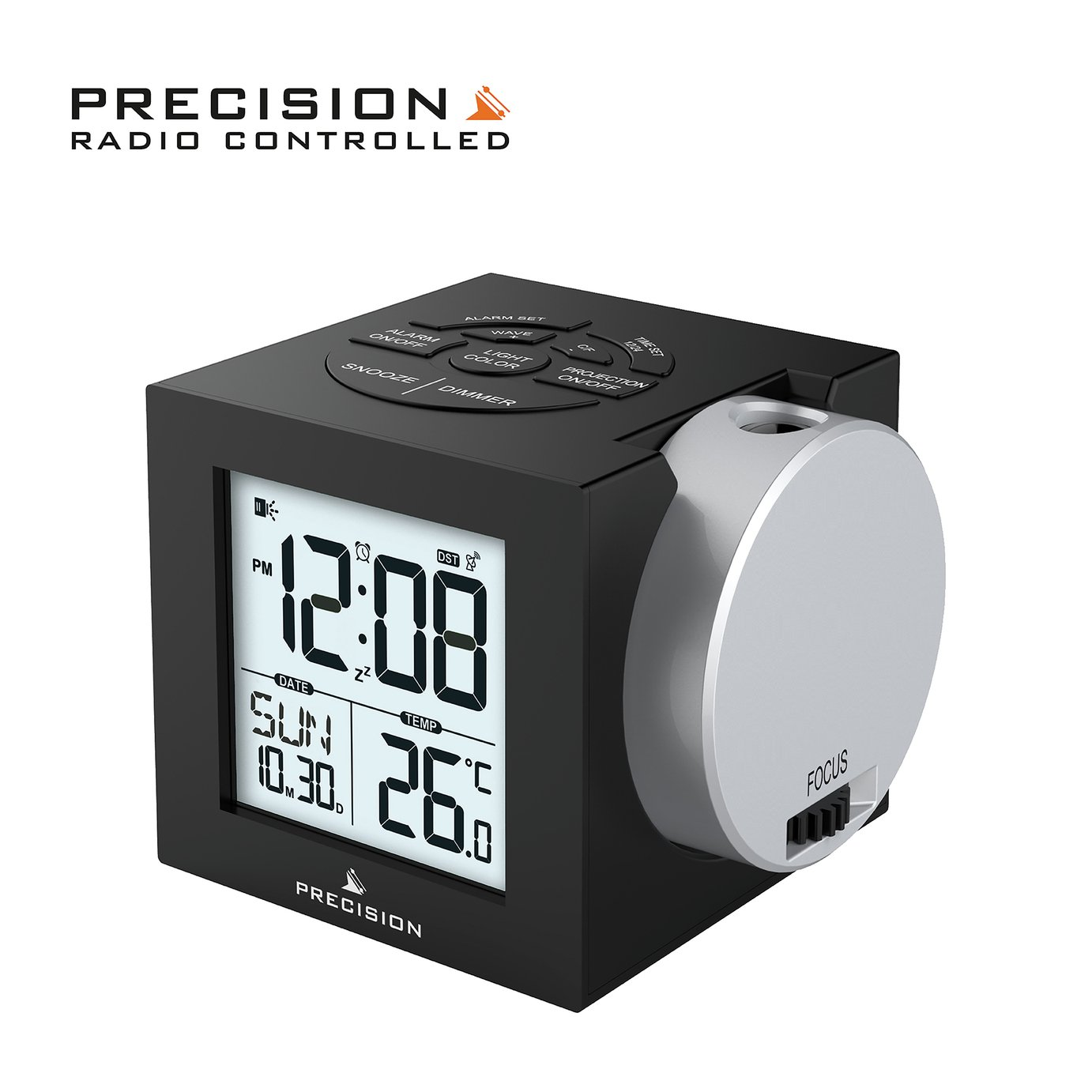 Precision Radio Controlled Projection Digital Alarm Clock from Precision