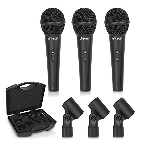 Pyle PDMICKT80 Dynamic Cardioid Vocal Microphone with Clip (Pack of 3) from PYLE