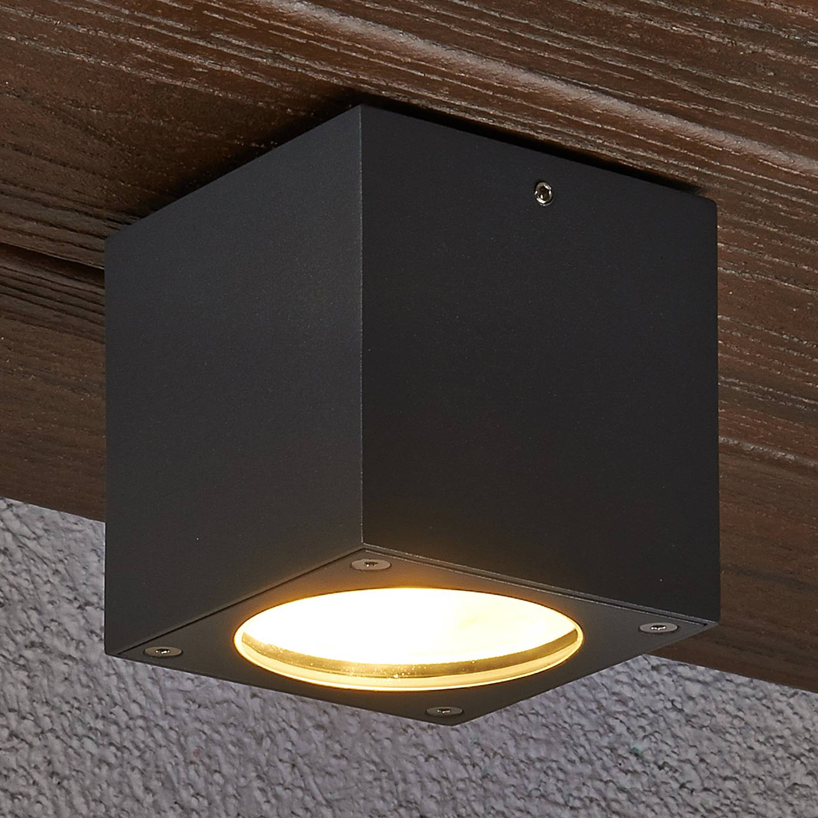Rectangular LED ceiling light Meret for outdoors from Lucande