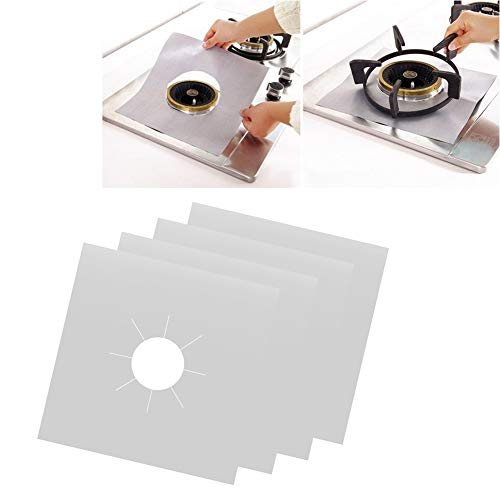 Reusable Gas Hob Protector Teflon Sheet Pack of 6, Hob Stove-top Burner Covers, Universal Heavy Duty Oven Liner, Non-Stick Foil, Lining Easy Clean, FDA-Approved, Silver by Romote