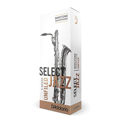 Rico Unfiled Hard 3 Strength Select Jazz Reed for Baritone Sax - 5 unfiled reeds from Rico