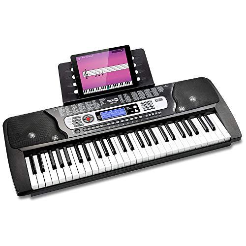 RockJam 54-Key Portable Digital Piano Keyboard with Music Stand and Interactive LCD Screen from Rockjam