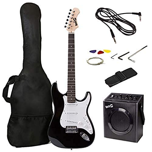 RockJam Full Size Electric Guitar Superkit with Amp, Strings, Tuner, Strap, Case and Cable - Black from Rockjam